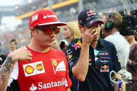 Kimi Raikkonen, Ferrari and Sebastian Vettel, Red Bull Racing on the drivers parade