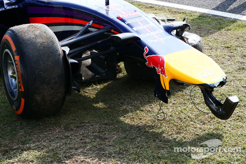 The damaged Red Bull Racing RB10 of Daniel Ricciardo, after he crashed during FP2