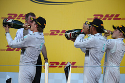 Nico Rosberg, Mercedes AMG F1 W05 with Lewis Hamilton, Mercedes AMG F1 and Valtteri Bottas, Williams FW36