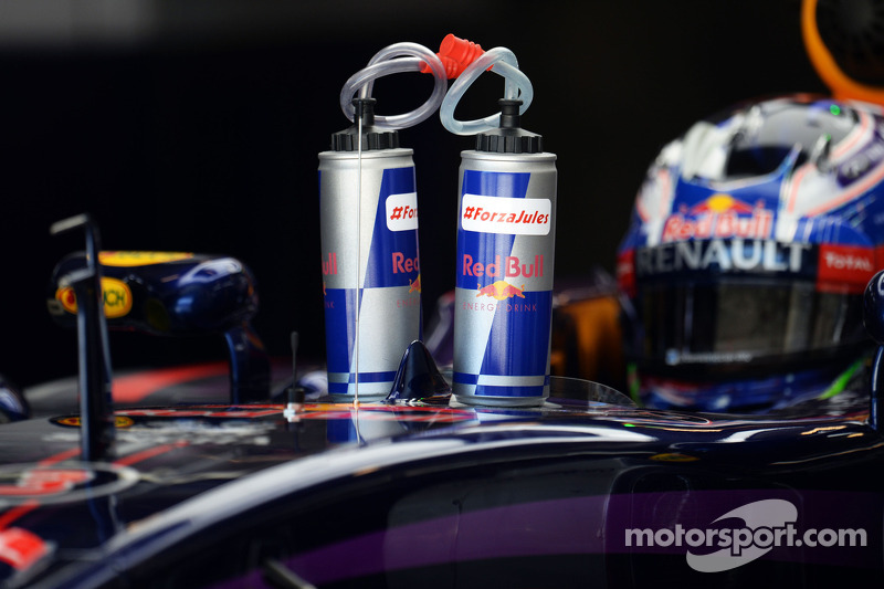 Daniel Ricciardo, Red Bull Racing RB10 with tributes to Jules Bianchi on his drinks bottles at ...