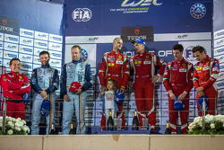 LMGTE Pro podium: 1st place Gianmaria Bruni, Toni Vilander; 2nd place Darren Turner, Stefan Mücke; 3rd place Davide Rigon, James Calado