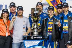 Championship victory lane: NASCAR Nationwide Series 2014 champion Chase Elliott celebrates with Dale Earnhardt Jr.