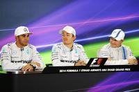 The post qualifying FIA Press Conference: Lewis Hamilton, Mercedes AMG F1, second; Nico Rosberg, Mercedes AMG F1, pole position; Valtteri Bottas, Williams, third