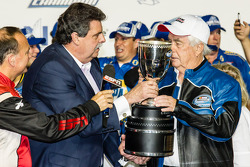 Championship victory lane: NASCAR Nationwide Series 2014 champion owner Roger Penske with NASCAR President Mike Helton