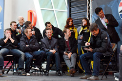 Matt Kenseth, A.J. Allmendinger, Carl Edwards, Greg Biffle, Kurt Busch, Aric Almirola, Brad Keselowski and Michael Waltrip laugh as Jeff Gordon plays Sketch Party TV