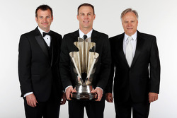 Crew chief Rodney Childers, Kevin Harvick, and team owner Gene Haas