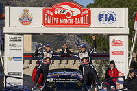 Podium: winners Sébastien Ogier and Julien Ingrassia, Volkswagen Motorsport