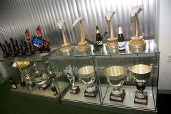 Various 8Star Motorsports trophies in the team's workshops