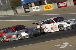 #79 J-3 Racing Porsche 911 GT3 RSR: Tim Sugden, Justin Jackson, #44 Flying Lizard Motorsports Porsche 911 GT3 RSR: Seth Neiman, Lonnie Pechnik