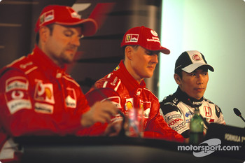 Press conference: pole winner Michael Schumacher with Rubens Barrichello and Takuma Sato