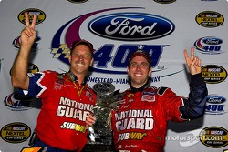 Victory lane: race winner Greg Biffle celebrates with crew chief Doug Richert