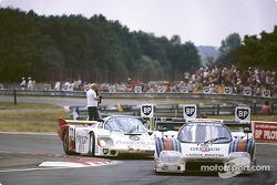#5 Martini Lancia LC2-83/85: Henri Pescarolo, Mauro Baldi, #33 Fitzpatrick Porsche Team Porsche 956: David Hobbs, Jo Gartner, Guy Edwards