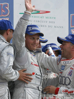 LM P1 podium: Johnny Herbert celebrates