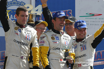 GTS podium: winners Olivier Gavin, Oliver Beretta and Jan Magnussen celebrate