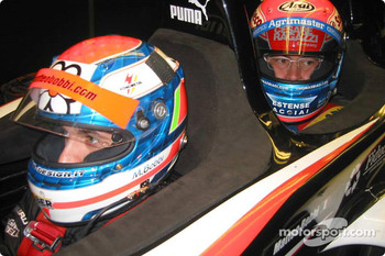 Matteo Bobbi gives former 2003 FIA GT Championship team-mate, Thomas Biagi, a ride