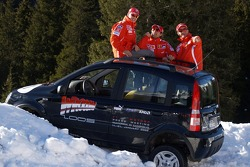 Fiat Panda race: Michael Schumacher, Luca Badoer and Rubens Barrichello with the Fiat Panda 4x4 cars