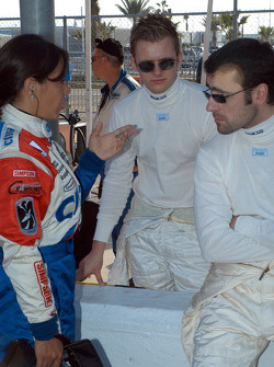 Milka Duno, Dan Wheldon and Dario Franchitti