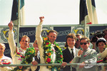 Podium: race winners Éric Hélary, Christophe Bouchut and Geoff Brabham celebrate with Jean Todt