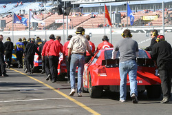 Cars lined up to pit road
