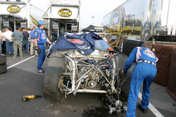 Wrecked car of Rusty Wallace