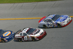 Mike Skinner, Dale Earnhardt Jr. and Michael Waltrip fight for the lead