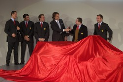 Michael Schumacher, Marc Gene, Luca Badoer, Luca di Montezemelo, Jean Todt and Rubens Barrichello present the new Ferrrari F2005