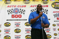 Grand Marshal Earvin Magic Johnson gives the command to start your engines to the drivers