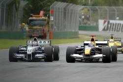 Mark Webber and David Coulthard battle
