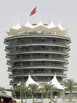 The tower at Turn 1 at Bahrain International Circuit