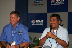 Co-Grand Marshall's Troy Aikman and George Lopez share a laugh