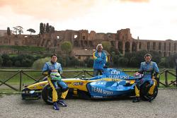 Giancarlo Fisichella, Franck Montagny and Flavio Briatore