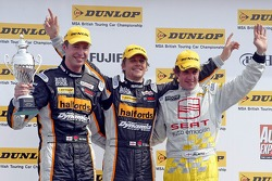 Race 1 podium: (L to R) 3rd placed Matt Neal, winner Dan Eaves, second placed Jason Plato