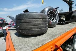 The wrecked car of Juan Pablo Montoya