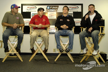 Stacy Compton, Ashton Lewis, Jon Wood and Denny Hamlin at a press conference for Virginia born Busch Series drivers