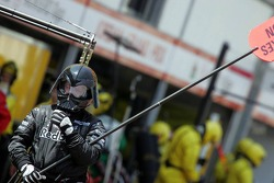 Darth Vader look for the Red Bull Racing lollipop man