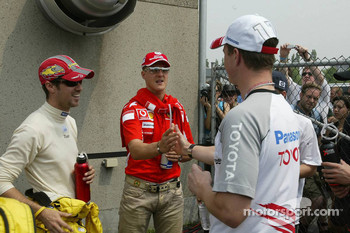 Tiago Monteiro, Michael Schumacher, Ralf Schumacher and Nick Heidfeld