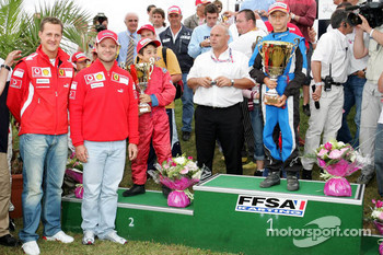 Bridgestone karting event: Michael Schumacher and Rubens Barrichello