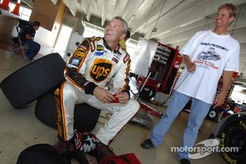 Dale Jarrett and Eddie Wood are all smiles following the test session for the 2006 Ford Fusion