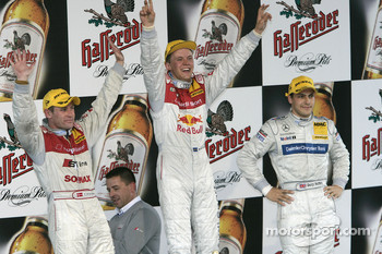 Podium: race winner Mattias Ekstrm with Tom Kristensen and Gary Paffett