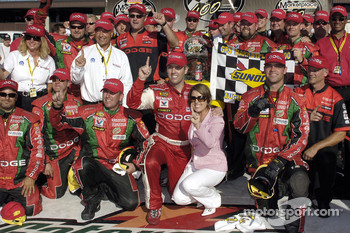 Victory lane: race winner Jeremy Mayfield celebrates with wife Shana and his team