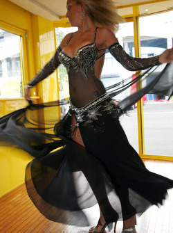 A Turkish belly dancer at the Turkish style media dinner at Jordan motorhome