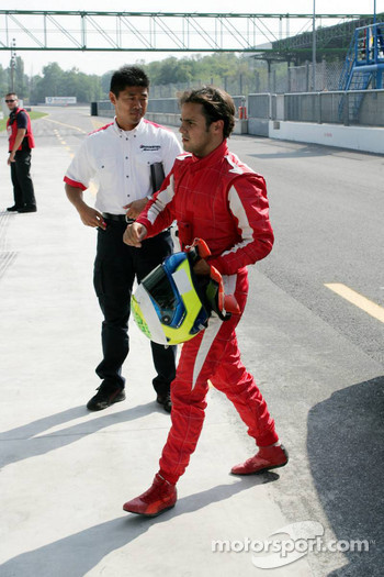 Felipe Massa back in the garage area