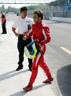 Felipe Massa back in the garage area