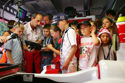 Young fans visit Toyota garage