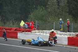Giancarlo Fisichella after his crash