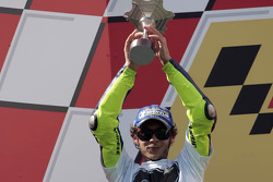 Podium: 2005 World Champion Valentino Rossi celebrates