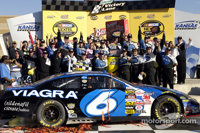 Victory lane: race winner Mark Martin celebrates with his team