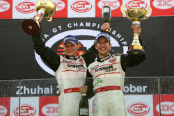 GT2 podium: class winners Marc Lieb and Mike Rockenfeller