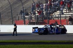 Bobby Labonte walks away from the last lap crash