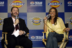 Press conference: Texas Motor Speedway President Eddie Gossage with country music recording artist Sara Evans